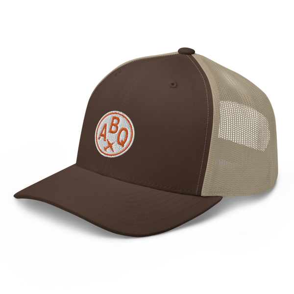 RWY23 - ABQ Albuquerque Airport Code Trucker Cap - City-Themed Merchandise - Roundel Design with Vintage Airplane - Image 1