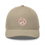 RWY23 - PDX Portland Airport Code Trucker Cap - City-Themed Merchandise - Roundel Design with Vintage Airplane - Image 9