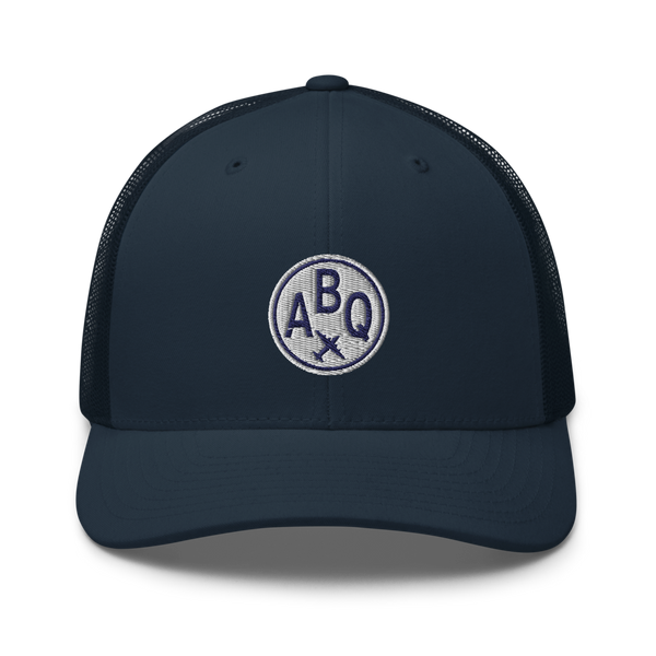 RWY23 - ABQ Albuquerque Airport Code Trucker Cap - City-Themed Merchandise - Roundel Design with Vintage Airplane - Image 4