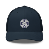 RWY23 - DEN Denver Airport Code Trucker Cap - City-Themed Merchandise - Roundel Design with Vintage Airplane - Image 4