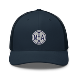 RWY23 - MIA Miami Airport Code Trucker Cap - City-Themed Merchandise - Roundel Design with Vintage Airplane - Image 4