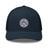 RWY23 - OGG Maui Airport Code Trucker Cap - City-Themed Merchandise - Roundel Design with Vintage Airplane - Image 4