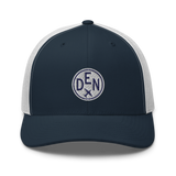 RWY23 - DEN Denver Airport Code Trucker Cap - City-Themed Merchandise - Roundel Design with Vintage Airplane - Image 7