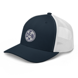 RWY23 - DEN Denver Airport Code Trucker Cap - City-Themed Merchandise - Roundel Design with Vintage Airplane - Image 1