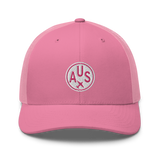 RWY23 - AUS Austin Airport Code Trucker Cap - City-Themed Merchandise - Roundel Design with Vintage Airplane - Image 4