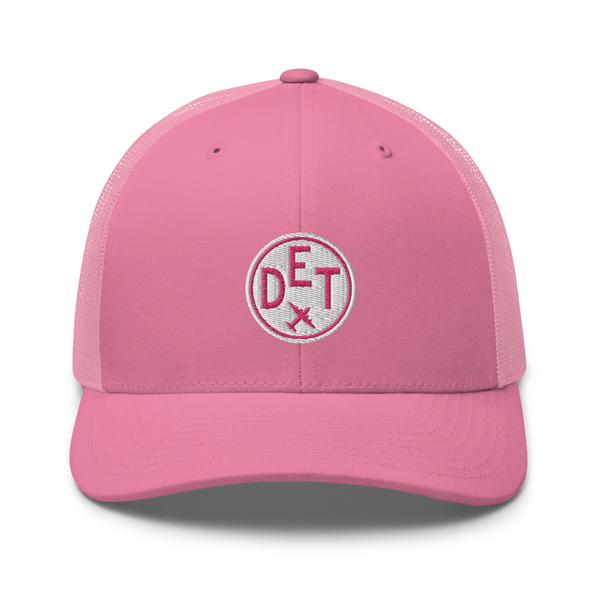 RWY23 - DET Detroit Airport Code Trucker Cap - City-Themed Merchandise - Roundel Design with Vintage Airplane - Image 4