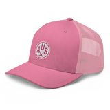 RWY23 - AUS Austin Airport Code Trucker Cap - City-Themed Merchandise - Roundel Design with Vintage Airplane - Image 1