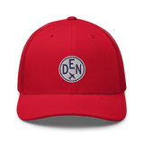 RWY23 - DEN Denver Airport Code Trucker Cap - City-Themed Merchandise - Roundel Design with Vintage Airplane - Image 9