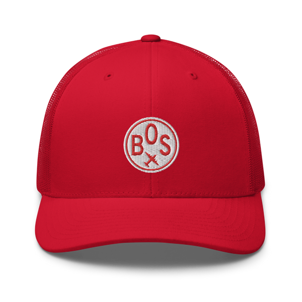 RWY23 - BOS Boston Airport Code Trucker Cap - City-Themed Merchandise - Roundel Design with Vintage Airplane - Image 4