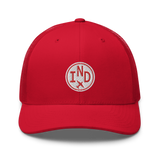 RWY23 - IND Indianapolis Airport Code Trucker Cap - City-Themed Merchandise - Roundel Design with Vintage Airplane - Image 4