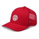 RWY23 - BOS Boston Airport Code Trucker Cap - City-Themed Merchandise - Roundel Design with Vintage Airplane - Image 1
