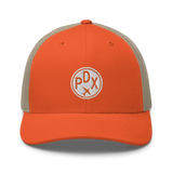 RWY23 - PDX Portland Airport Code Trucker Cap - City-Themed Merchandise - Roundel Design with Vintage Airplane - Image 6