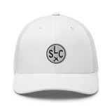 RWY23 - SLC Salt Lake City Airport Code Trucker Cap - City-Themed Merchandise - Roundel Design with Vintage Airplane - Image 12