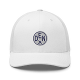 RWY23 - DEN Denver Airport Code Trucker Cap - City-Themed Merchandise - Roundel Design with Vintage Airplane - Image 12