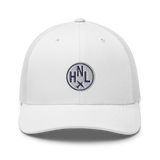 RWY23 - HNL Honolulu Airport Code Trucker Cap - City-Themed Merchandise - Roundel Design with Vintage Airplane - Image 12