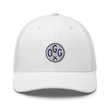 RWY23 - OGG Maui Airport Code Trucker Cap - City-Themed Merchandise - Roundel Design with Vintage Airplane - Image 12