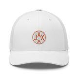 RWY23 - JAX Jacksonville Airport Code Trucker Cap - City-Themed Merchandise - Roundel Design with Vintage Airplane - Image 12