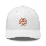 RWY23 - PDX Portland Airport Code Trucker Cap - City-Themed Merchandise - Roundel Design with Vintage Airplane - Image 12