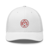 RWY23 - BOS Boston Airport Code Trucker Cap - City-Themed Merchandise - Roundel Design with Vintage Airplane - Image 6