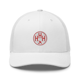 RWY23 - HHH Hilton Head Island Airport Code Trucker Cap - City-Themed Merchandise - Roundel Design with Vintage Airplane - Image 6