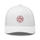 RWY23 - IAH Houston Airport Code Trucker Cap - City-Themed Merchandise - Roundel Design with Vintage Airplane - Image 6