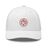 RWY23 - IND Indianapolis Airport Code Trucker Cap - City-Themed Merchandise - Roundel Design with Vintage Airplane - Image 6