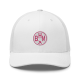 RWY23 - BHM Birmingham Airport Code Trucker Cap - City-Themed Merchandise - Roundel Design with Vintage Airplane - Image 6