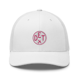 RWY23 - DET Detroit Airport Code Trucker Cap - City-Themed Merchandise - Roundel Design with Vintage Airplane - Image 6