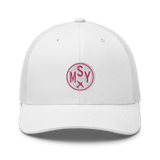 RWY23 - MSY New Orleans Airport Code Trucker Cap - City-Themed Merchandise - Roundel Design with Vintage Airplane - Image 6