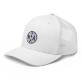 RWY23 - MIA Miami Airport Code Trucker Cap - City-Themed Merchandise - Roundel Design with Vintage Airplane - Image 14