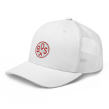 RWY23 - BOS Boston Airport Code Trucker Cap - City-Themed Merchandise - Roundel Design with Vintage Airplane - Image 8