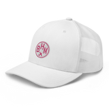 RWY23 - BHM Birmingham Airport Code Trucker Cap - City-Themed Merchandise - Roundel Design with Vintage Airplane - Image 8