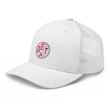 RWY23 - DET Detroit Airport Code Trucker Cap - City-Themed Merchandise - Roundel Design with Vintage Airplane - Image 8