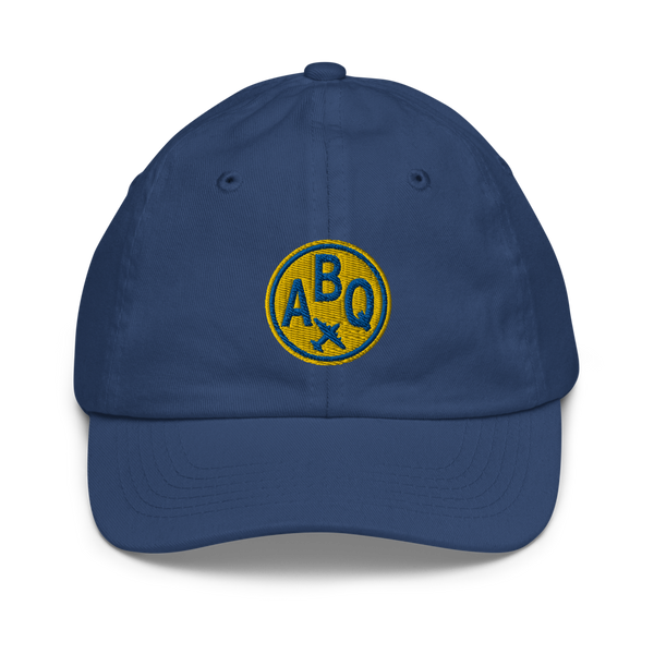 RWY23 - ABQ Albuquerque Kids Hat - Children's Baseball Cap with Airport Code (Gold and Blue Embroidery) - Image 1