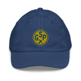 RWY23 - GSP Greenville-Spartanburg Kids Hat - Children's Baseball Cap with Airport Code (Gold and Blue Embroidery) - Image 1