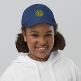 RWY23 - GSP Greenville-Spartanburg Kids Hat - Children's Baseball Cap with Airport Code (Gold and Blue Embroidery) - Image 5