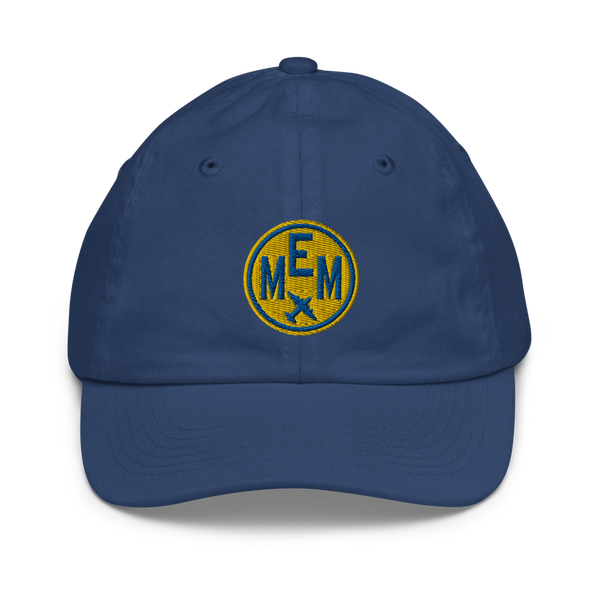 RWY23 - MEM Memphis Kids Hat - Children's Baseball Cap with Airport Code (Gold and Blue Embroidery) - Image 1