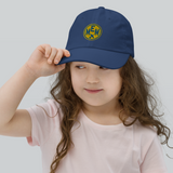 RWY23 - MEM Memphis Kids Hat - Children's Baseball Cap with Airport Code (Gold and Blue Embroidery) - Image 2