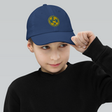 RWY23 - MEM Memphis Kids Hat - Children's Baseball Cap with Airport Code (Gold and Blue Embroidery) - Image 3