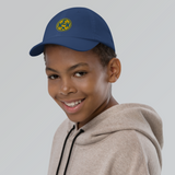 RWY23 - MEM Memphis Kids Hat - Children's Baseball Cap with Airport Code (Gold and Blue Embroidery) - Image 4