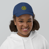RWY23 - MEM Memphis Kids Hat - Children's Baseball Cap with Airport Code (Gold and Blue Embroidery) - Image 5