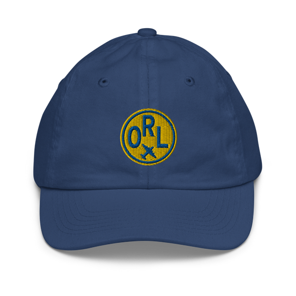 RWY23 - ORL Orlando Kids Hat - Children's Baseball Cap with Airport Code (Gold and Blue Embroidery) - Image 1