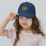 RWY23 - ORL Orlando Kids Hat - Children's Baseball Cap with Airport Code (Gold and Blue Embroidery) - Image 2