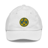 RWY23 - MEM Memphis Kids Hat - Children's Baseball Cap with Airport Code (Gold and Blue Embroidery) - Image 6