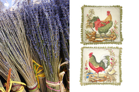 Lavender of Provence and embroidered pillows