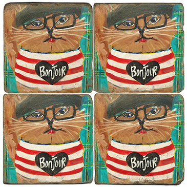 Bonjour Cat Coaster  - set of 4