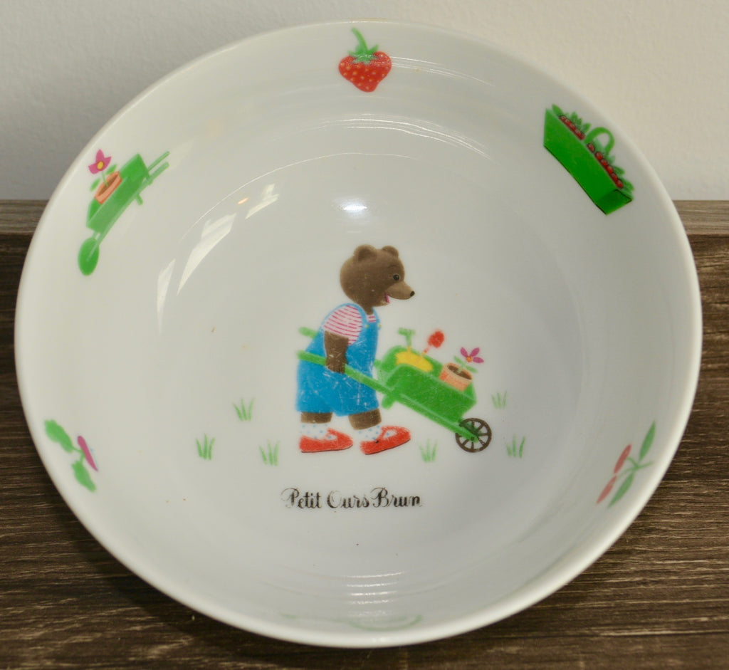 Vintage Petit Ours Bruns au Jardin Child's Bowl