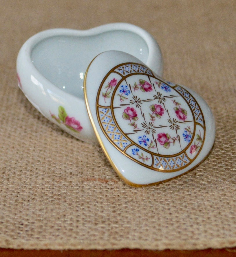 Limoges Heart Shaped Pill Box