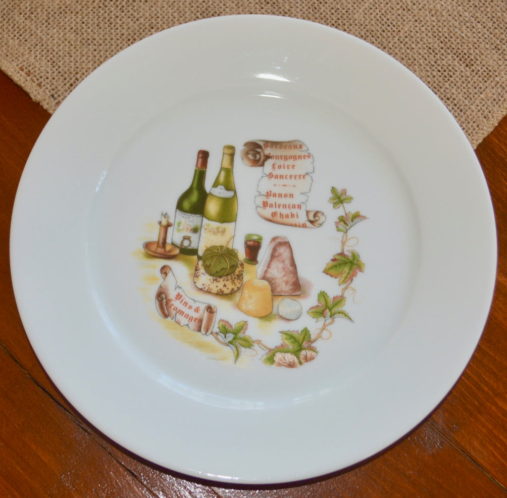 Porcelaine de Sologne Wine and Cheese Dessert Plate
