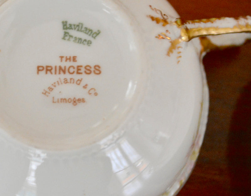 Haviland & Co. Princess Vintage Limoges Tea Cup and Saucer - set of 2 back of cup